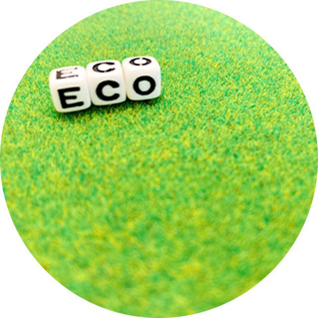芝生の上に「ECO」のブロックが並んでいる写真
